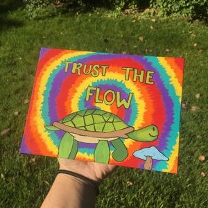 Trust The Flow Turtle painting